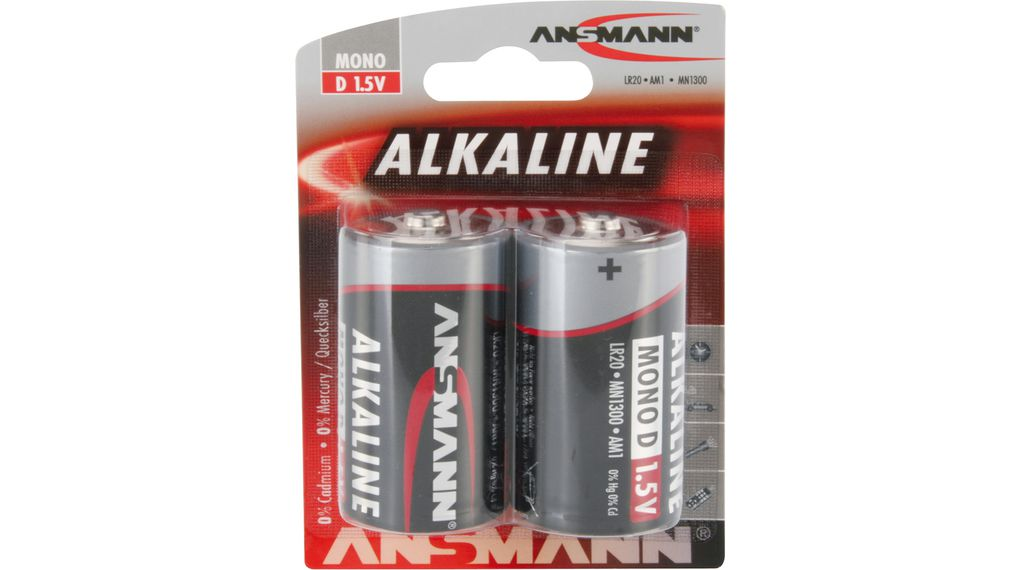 Alkaline Battery D 1.5 V LR20 Pack of 2 pieces